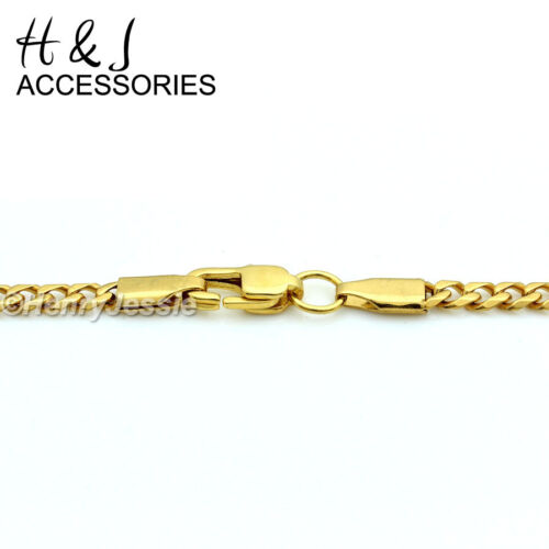 """20/""""Stainless Steel 3mm Gold Cuban Curb Chain Necklace Small JESUS Cross Pendant"""