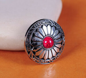10X 30MM SUN FLOWER RED TURQUOISE SLIVER SCREW BACK SADDLES LEATHERCRAFT CONCHOS