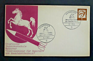 1963 Hannover Germany Double Cancel Rocket Mail Postcard Cover