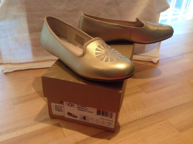 NIB Ugg Carey Metallic Gold Girls Slip On Shoes Size 4 EU 34 PERFECT $70