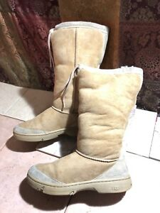 UGG-Sz-8-US-Boots-5250-Tan-Beige-Sheepskin-Ultimate-Tall-Drawstring-Cuff-Womens