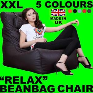Image Is Loading XXL RELAX LEATHER BEANBAG HIGH BACK HEAD REST