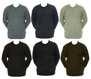 Mens-M-L-XL-New-Crew-Neck-Jumper-Acrylic-Wool-Mix-Black-Grey-Brown-Green-LICK