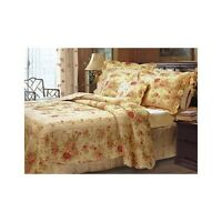 Full/queen Shabby Antique Chic Floral Roses Cottage Quilt Bedding Gold Red Set
