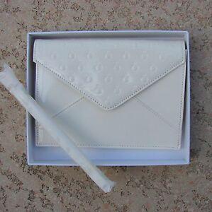 Pandora-Jewelry-Embossed-Patent-Vinyl-Clutch-Purse-Wrist-Strap-Bone-White-New