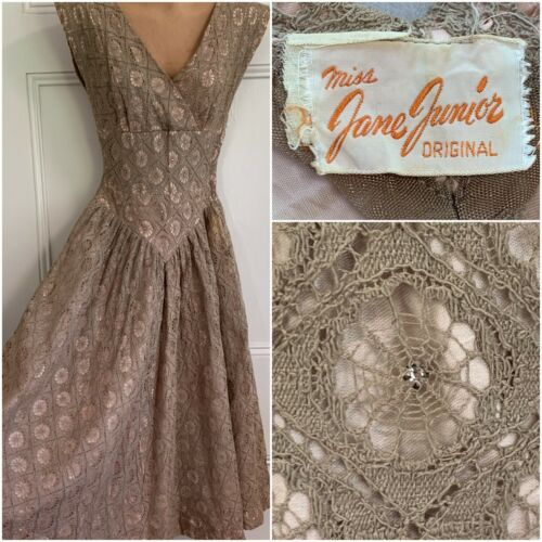 1950s Spider Web Lace Party Prom Dress Rhinestone