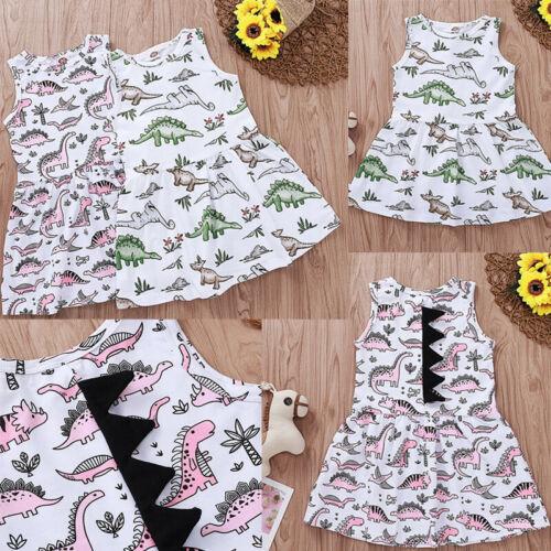 Baby Girls Dinosaur Cartoon Printed Sleeveless Dress Infant Casual Summer Clothe