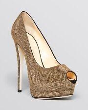 GIUSEPPE ZANOTTI Gold Rhinestone Beaded Sharon Peep-Toe High Heels Pumps 8 EU 38