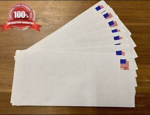 100 Pre-Stamped Security Envelopes with USA Flag FOREVER Stamps **FREE SHIPPING*