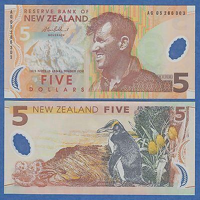 New Zealand 5 Dollars 2009 P185b UNC Polymer