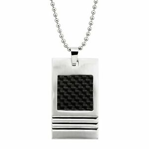 Men's Two-Tone Rectangular Textured Pendant in Stainless Steel