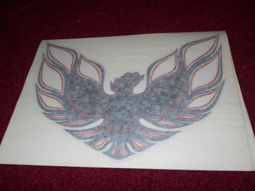 1976 PONTIAC FIREBIRD TRANS-AM HOOD BIRD DECAL TRANSFER NEW CHARCOAL W RED NEW