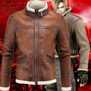 Resident Evil 4 Leon S Kennedy Men S Slim Cosplay Coat Pu Leather
