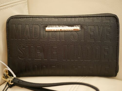 NEW WOMENS STEVE MADDEN ZIP AROUND  WALLET BLACK GOLD BZIP WRISTLET LEATHER LOGO