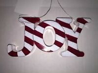 Christmas Holiday Hanging Ornament Candy Cane Theme Red & White - Joy