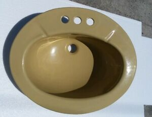 Harvest-Gold-Drop-In-Ceramic-Sink-Counter-Oval-Vintage-Classic-Color-031-Autumn