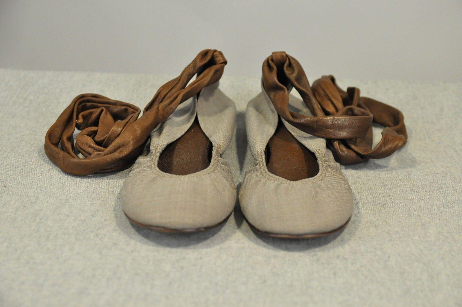 .NWB 565 Brunello Cucinelli Gunex Womens Leather 2Tone Lace-Up Ballet Flat shoes