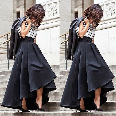 Women Stretch High Waist Flared Pleated Asymmetric Skirt Maxi Long Dress toy