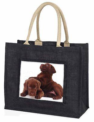 Schoko Labrador Welpen große schwarze Einkaufstasche