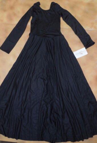 NWT Dance Black Long Sleeve Spandex Full Circle Praise Dress Ladies//Girls 76176