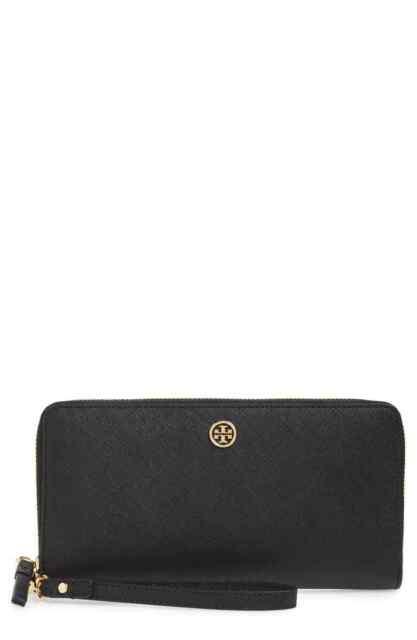 New Authentic Tory Burch 57803 Emerson Zip Passport Continental Wallet Black