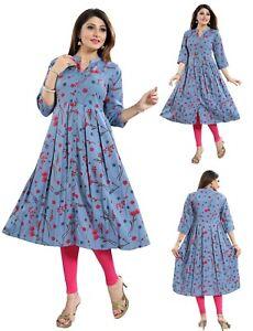 Women-Indian-Long-Kurti-Floral-Top-A-Line-Tunic-Kurta-Shirt-Dress-Blue-SC2476