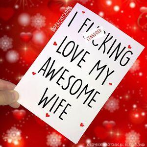 Carte Anniversaire I F Cking Amour Mon Awesome Femme Mari Noel Pc176 Ebay