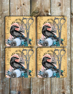 Drink Coasters Set of 4 Non Slip Neoprene The Crow Flowers Scissors