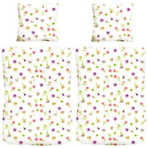 4-tlg-Microfaser-Bettbezug-mit-Blumen-Design-Bettgarnitur-Bettwaesche-135x200
