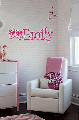 Baby Girl Personalized Name & Booties Wall Sticker Nursery Wall Art Decor