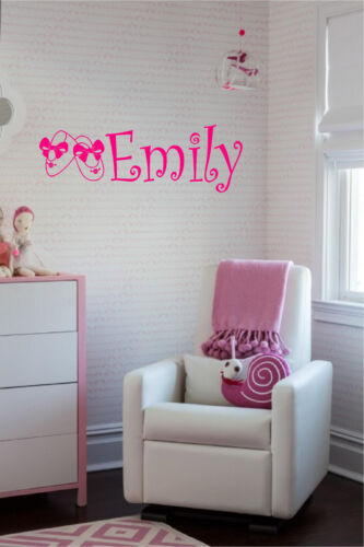 Baby Girl Personalized Name /& Booties Wall Sticker Nursery Wall Art Decor
