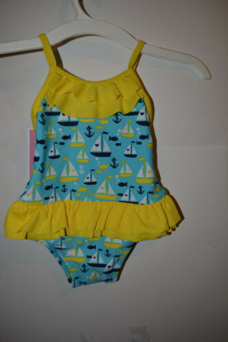 Circo Girls Infant  One Piece Swimsuit Tutu 9M Or 12M 2T NWT UPF 50+Boats Aqua