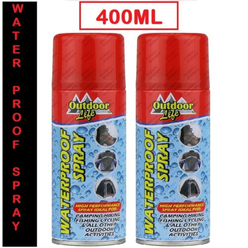 2 x Waterproof Spray Ideal For Cloth Shoes Tent Camping Fabric Protector 400ml