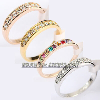 A1-R111 Fashion Wedding Band Ring 18KGP CZ Rhinestone Crystal Size 5.5-10