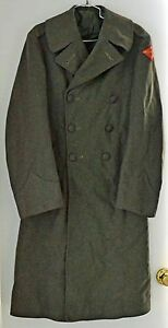 ORIGINAL-WWII-USMC-MARINE-CORPS-WINTER-WOOL-OVERCOAT-SIZE-38-1st-Air-Wing-MAW