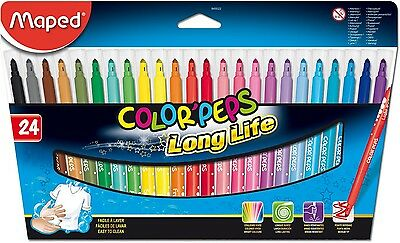 "MAPED COLOR'PEPS FELT TIPS ""LONG-LIFE"" FIBRE TIP PENS in Wallet 24 Assorted"