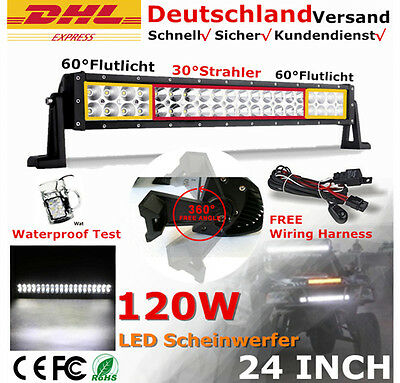120W Led Light Bar Spot Flood Combo Work Driving Atv Ute Suv Offroad 4WD VS 180W
