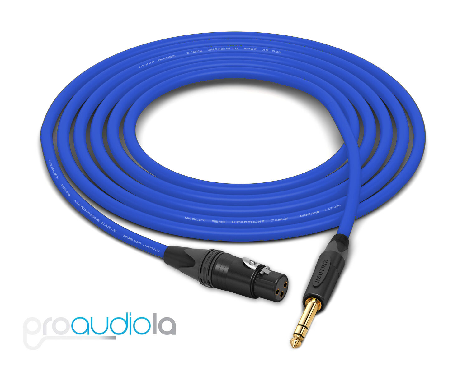 Mogami 2549 Cable   Neutrik Gold XLR-F 1 4  TRS   Blau 75 Feet   75 Ft.   75'