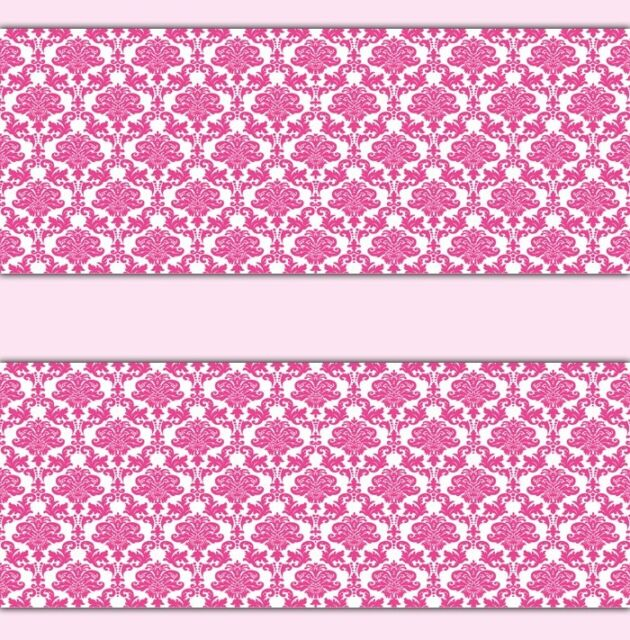 Damask Wallpaper Border Hot Pink Wall Art Decal Baby Girl Nursery Stickers Decor