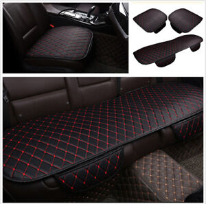 Black-Red-PU-Leather-Car-Interior-Seat-Cover-Cushion-Mat-Breathable-Accessories