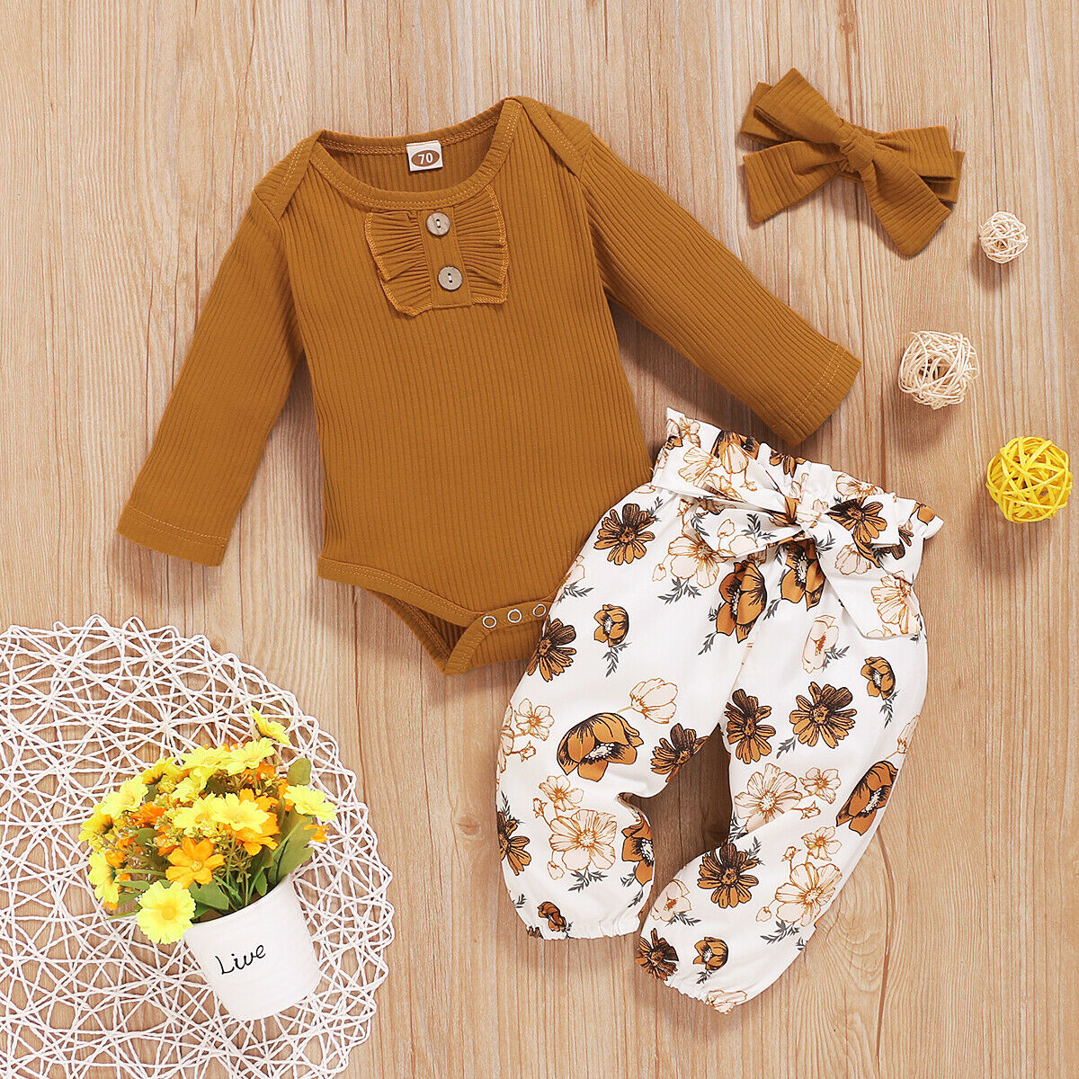 Toddler Baby Girl Clothes Romper Tops Jumpsuit Floral Pants Headband Outfits Set