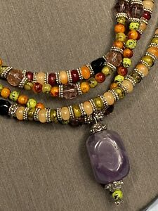 Women-s-Ladies-Necklace-Bohemian-Multi-Color-Beads-3-Strand-Amethyst-Pendant-16