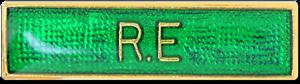 RE Bar Pin Badge in Green Enamel
