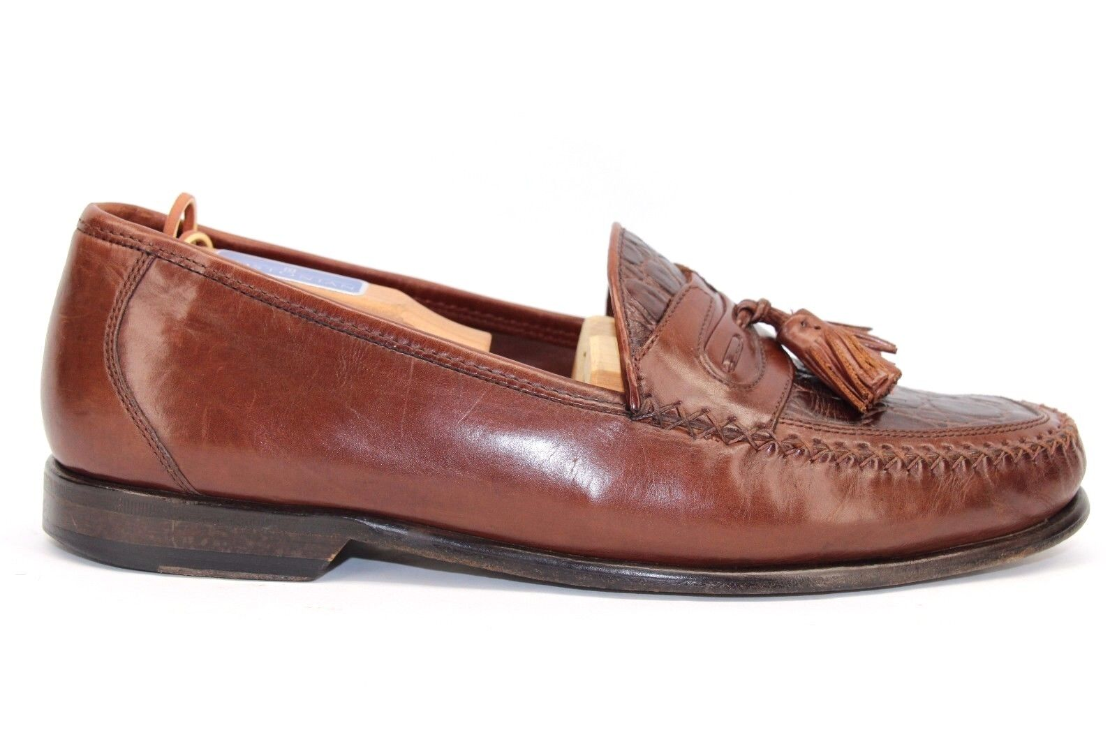 Johnston & Murphy braun Leather Embossed Vamp Vamp Vamp Moc Toe Tassel Loafers Größe 9 M cb3622