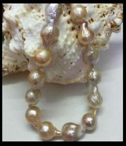 """Natural South Sea Baroque Lavender Akoya Pearl Necklace 18/""""7-8mm /& 10-14mm  AAA"""