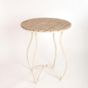 Details zu Gartentisch Antik Esstisch Rund Metall Holz Weiss Vintage Shabby  Chic Landhaus