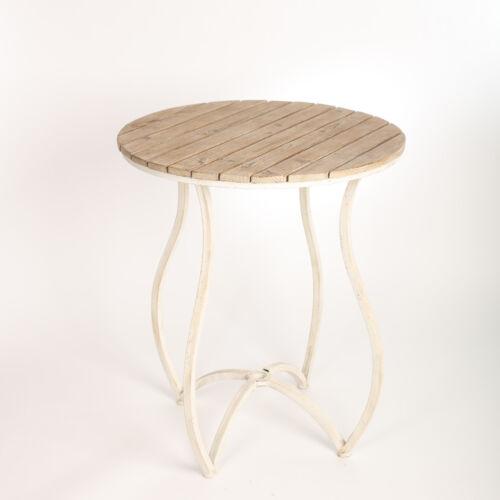 Vintage Tisch Antik Teetisch Kaffeetisc Rund Metal Holz Industrial Weiss Shabby