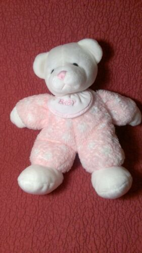 "10"" Baby Ganz WHITE BEAR RATTLE PINK BODY BIB ""Baby"" plush stuffed toy"