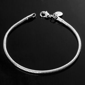 925-Sterling-Silver-Plated-Mens-Womens-Jewelry-3MM-Snake-Chain-Bangle-Bracelets