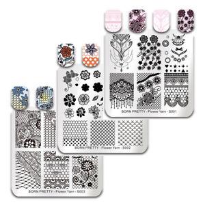 BORN-PRETTY-Nagel-Stempel-Schablone-Square-Blume-Gitter-Nail-Art-Stamping-Plates